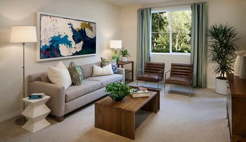 Interior view of living room at Gateway Apartment Homes in Orange, CA.