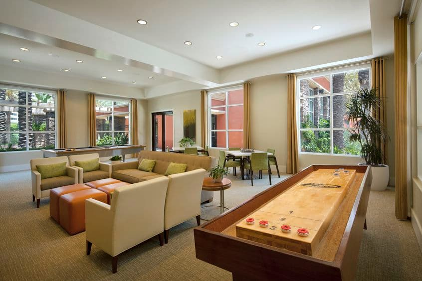 Interior view of clubhouse at Gateway Apartment Homes in Orange, CA.