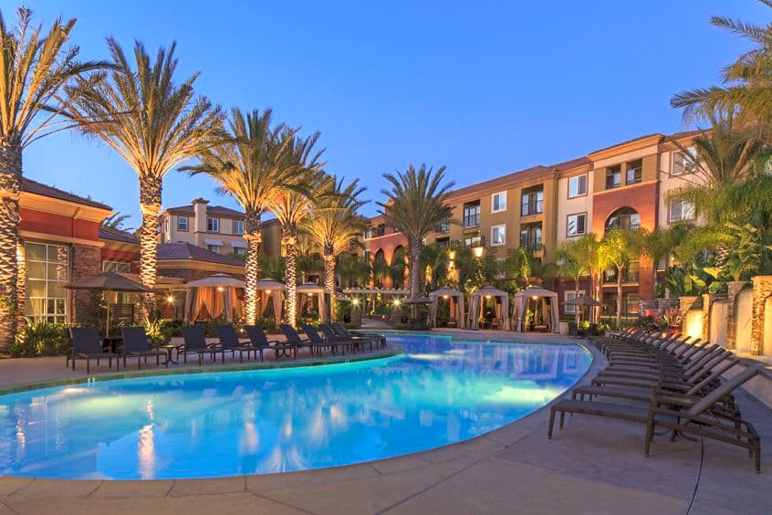 Exterior views of resort pool at the Gateway Apartment Homes in Orange, CA.