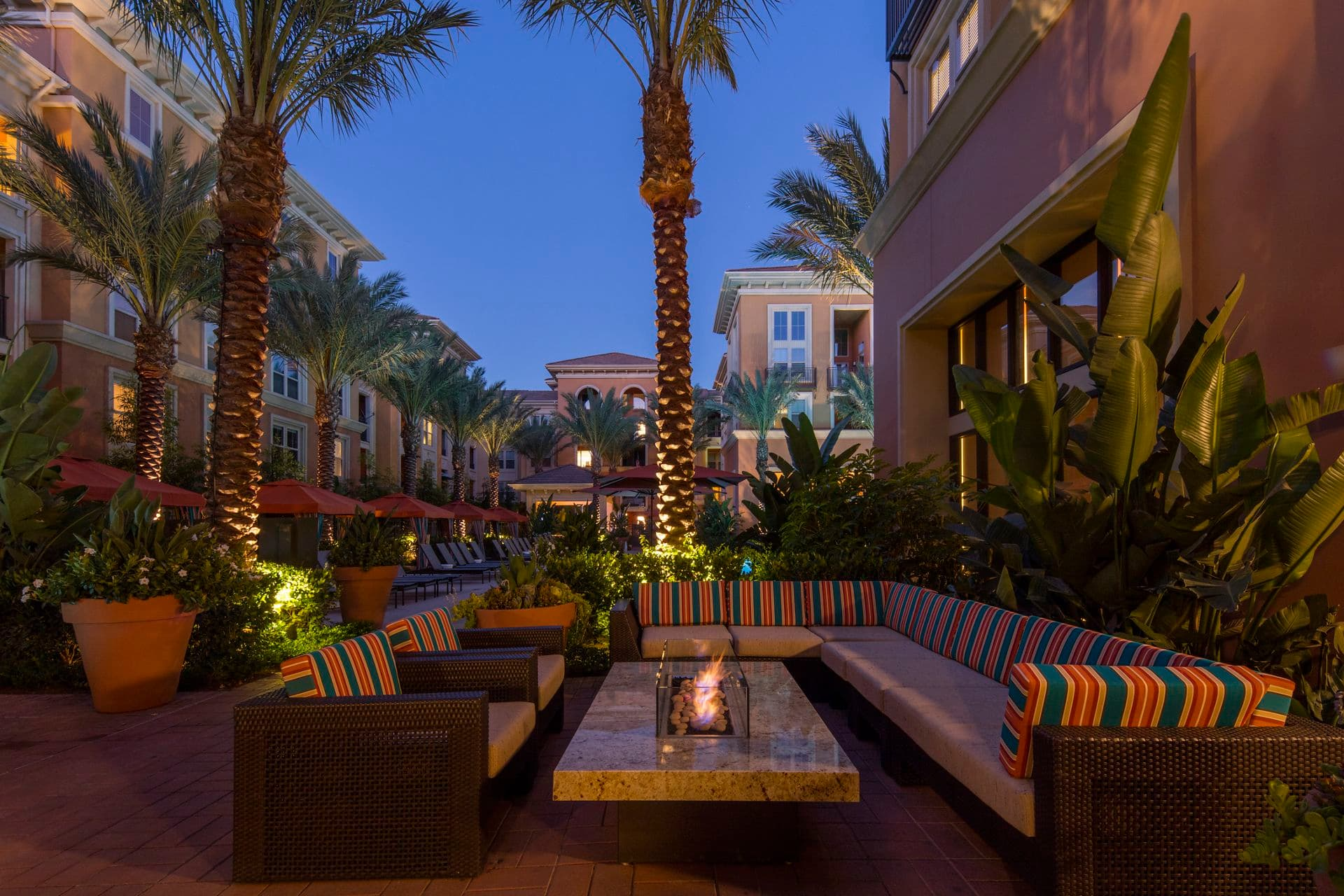 Exterior view of courtyard at Gateway Apartment Homes in Orange, CA.