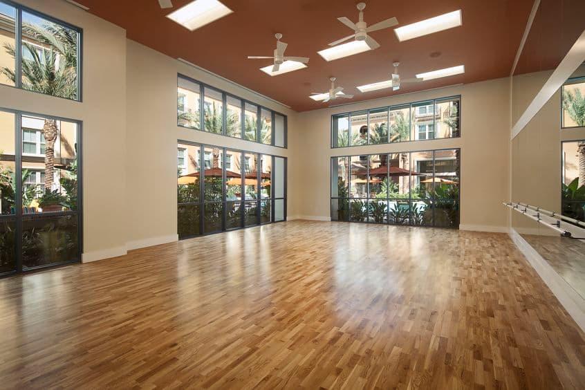 Interior views of yoga studio at Gateway Apartment Homes in Orange, CA.