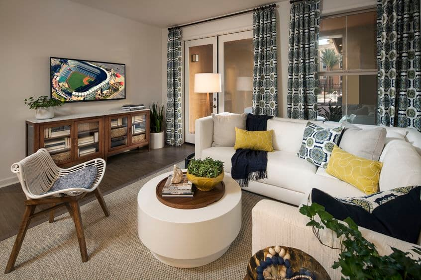 Interior views of living room at the Gateway Apartment Homes in Orange, CA.