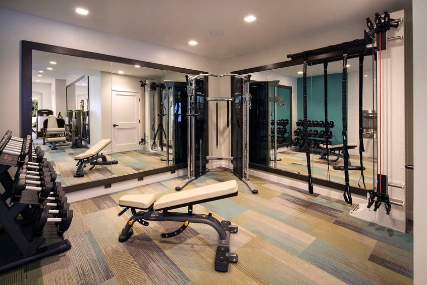 Interior view of the fitness center at at Las Flores Apartment Homes in Rancho Santa Margarita, CA.
