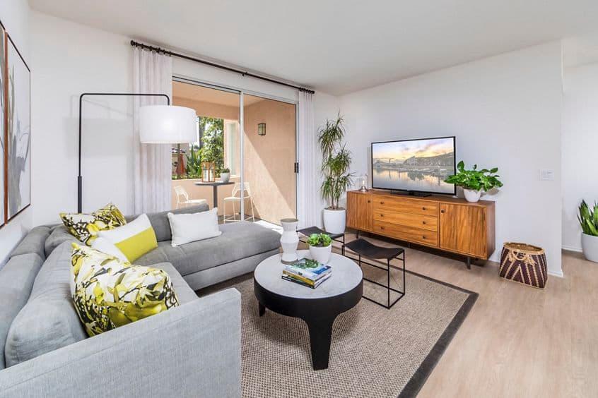 Interior view of living room at Las Flores Apartment Homes in Rancho Santa Margarita, CA.