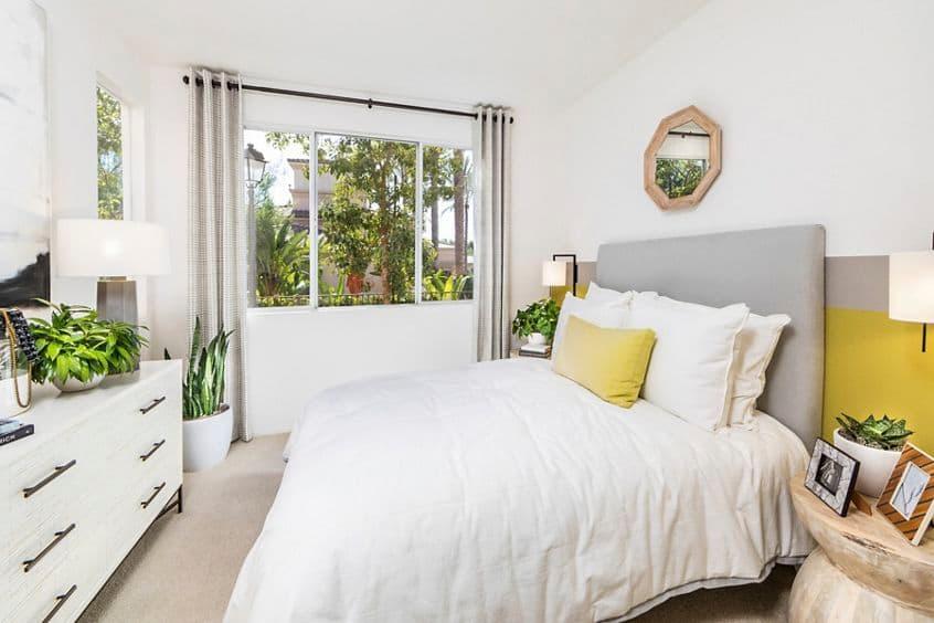 Interior view of bedroom at Las Flores Apartment Homes in Rancho Santa Margarita, CA.