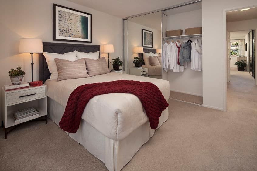 Interior view of bedroom at Rancho Alisal Apartment Homes in Tustin, CA.