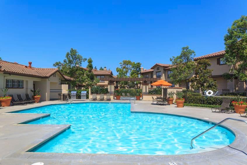 View of pool at Rancho Maderas Apartment Homes in Tustin, CA.