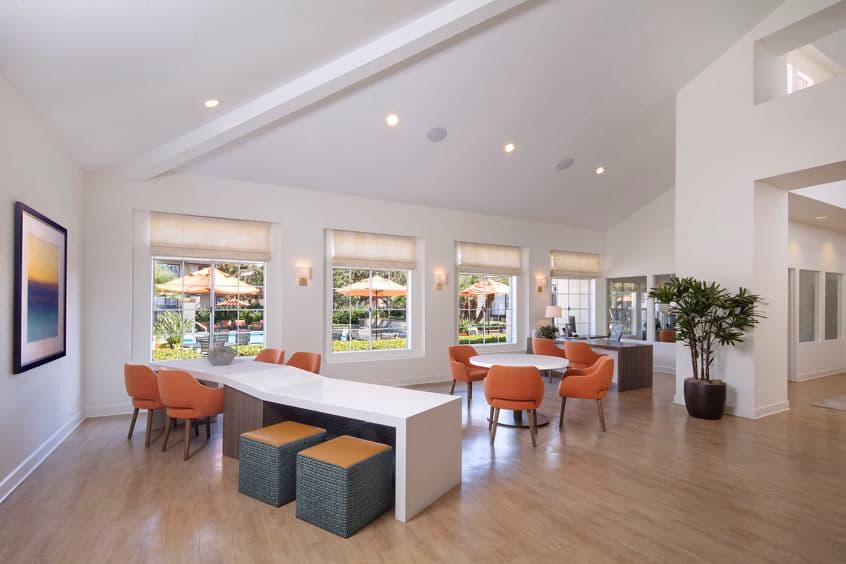 Interior view of lobby area at Rancho Maderas Apartment Homes in Tustin., CA.