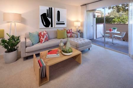 Interior view of living room of Rancho Maderas Apartment Homes in Tustin, CA.