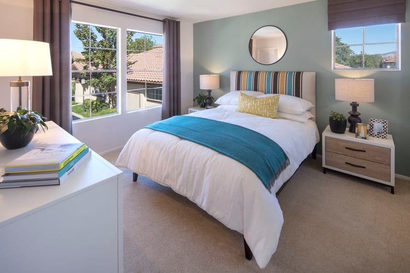 Interior view of bedroom at Rancho Maderas Apartment Homes in Tustin, CA.