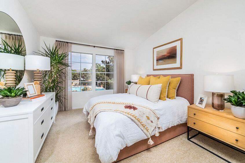 Interior view of bedroom at Rancho Maderas Apartment Homes in Tustin, CA.