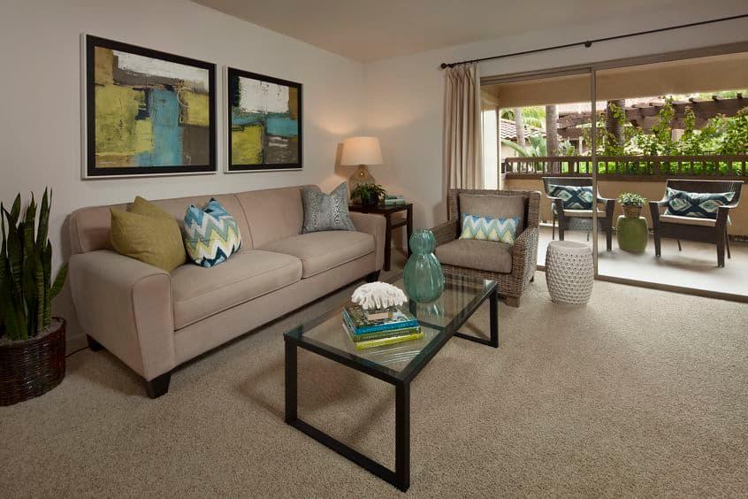 Interior view of living room at Rancho Mariposa Apartment Homes in Tustin, CA.