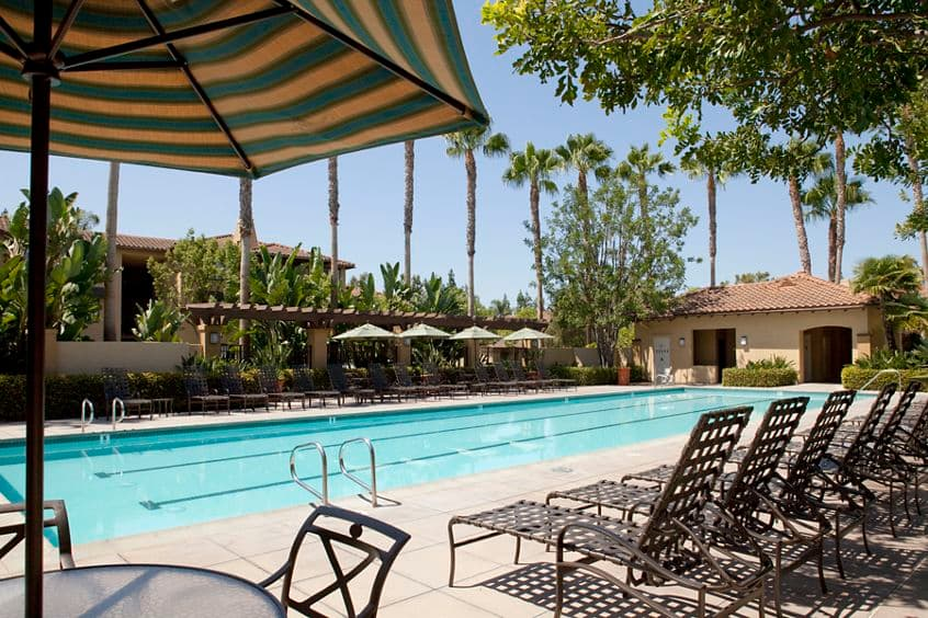 View of pool at Rancho Monterey Apartment Homes in Tustin, CA.