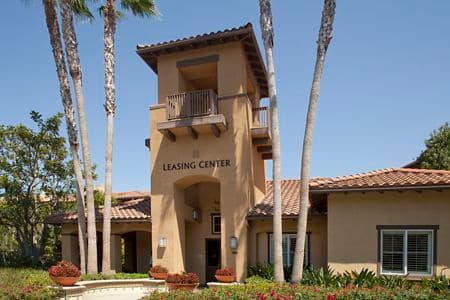 Exterior view of Leasing Center at Rancho Monterey Apartment Homes in Tustin, CA.