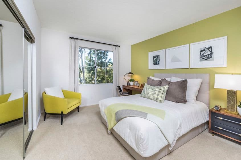 Interior view of bedroom at Rancho Monterey Apartment Homes in Tustin, CA.
