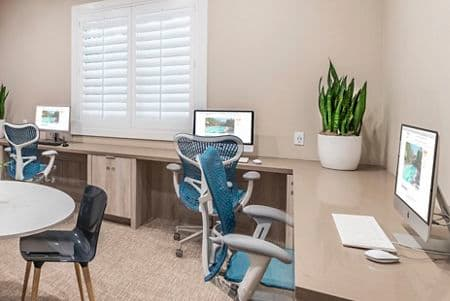 Interior view of business center at Rancho Monterey Apartment Homes in Tustin, CA.