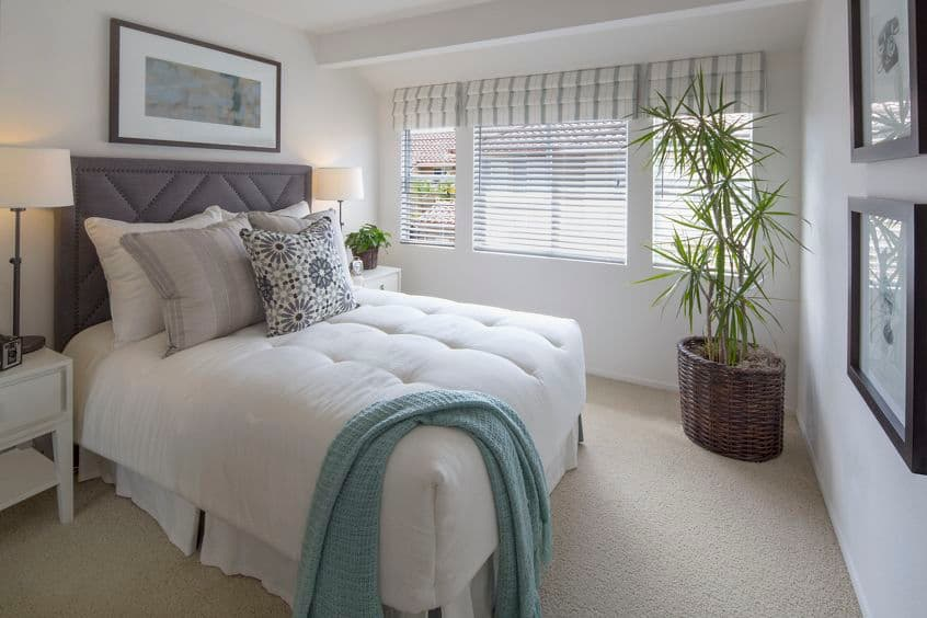 Interior view of bedroom at Rancho Santa Fe Apartment Homes in Tustin, CA.