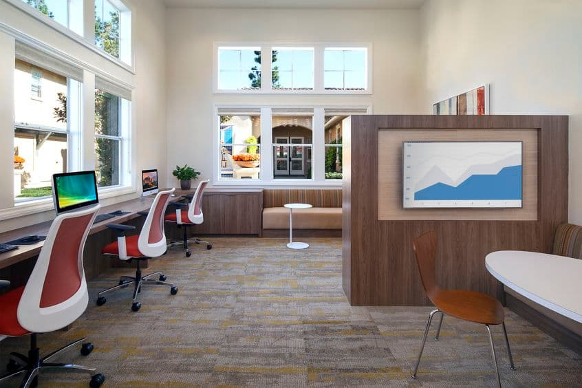 Interior view of business center at Rancho Santa Fe Apartment Homes in Tustin, CA.