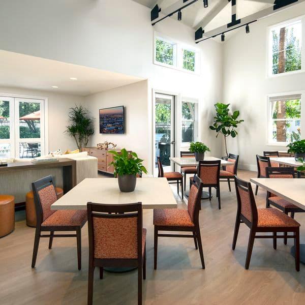 Interior view of clubhouse at Rancho Santa Fe Apartment Homes in Tustin, CA.