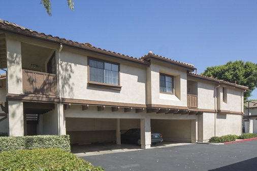 Exterior view of garage spaces at Rancho Tierra Apartment Homes in Tustin, CA.