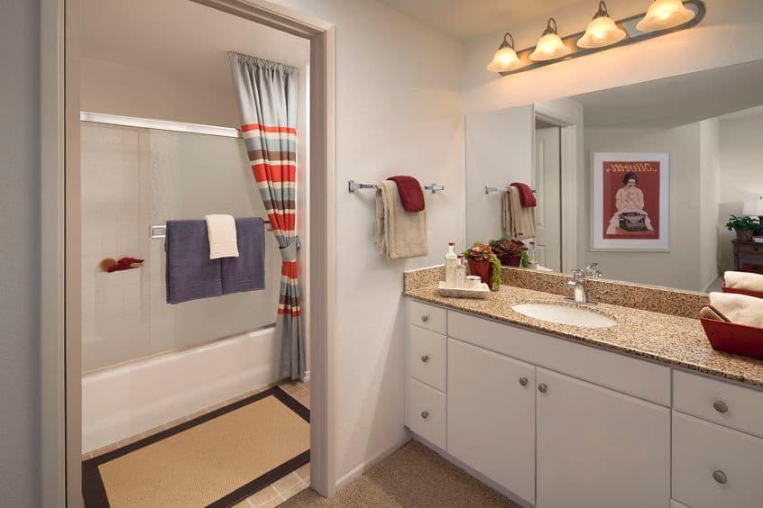 Interior view of bathroom at Sierra Vista Apartment Homes in Tustin, CA.