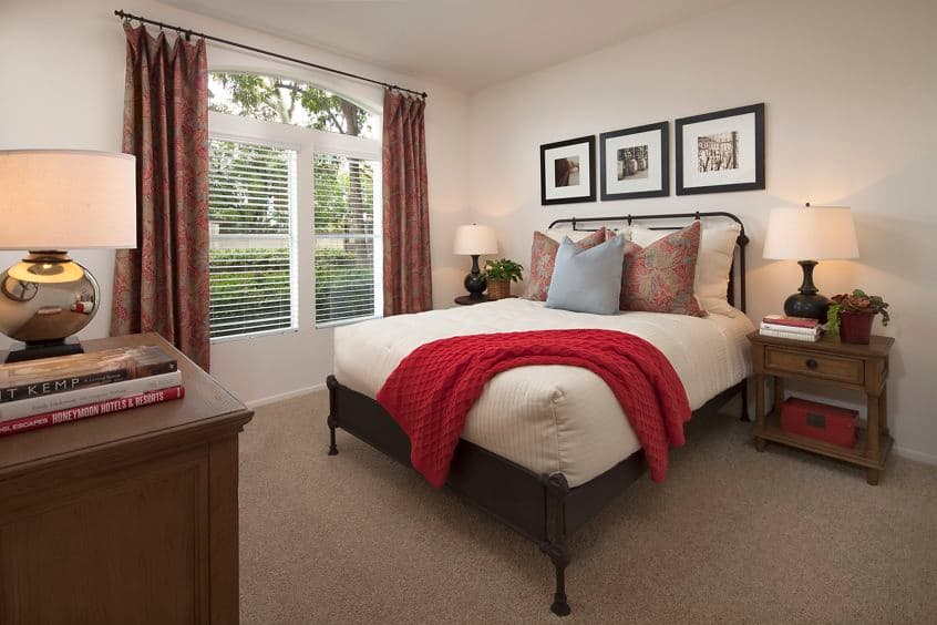 Interior view of bedroom at Sierra Vista Apartment Homes in Tustin, CA.