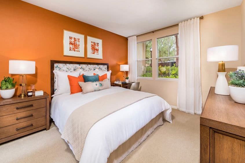 Interior view of bedroom at Arcadia at Stonecrest Apartment Homes in San Diego, CA.