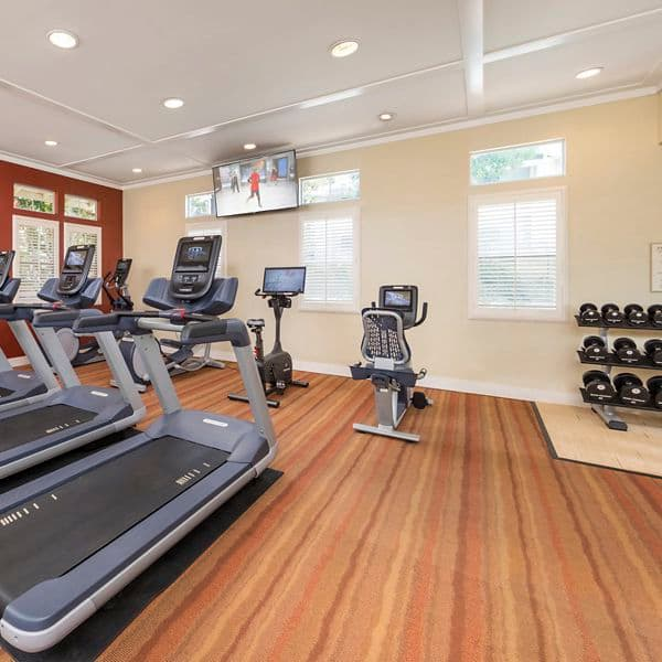 Interior view of fitness center at Arcadia at Stonecrest Apartment Homes in San Diego, CA.