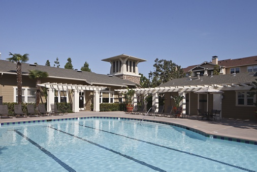 Exterior views of pool at Arcadia at StoneCrest Village Apartment Homes in San Diego, CA.