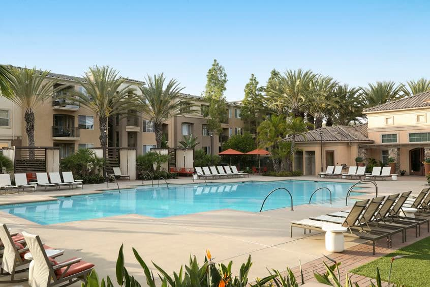 Pool view at Del Rio Apartment Homes in Mission Valley, CA.
