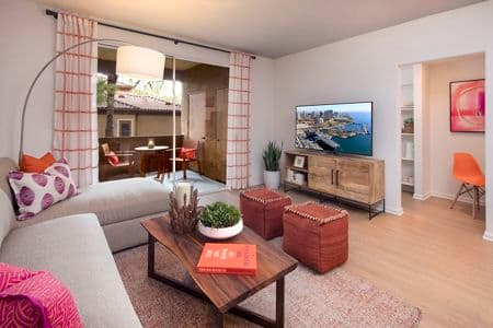 Living room view of Del Rio Apartment Homes in Mission Valley, CA.