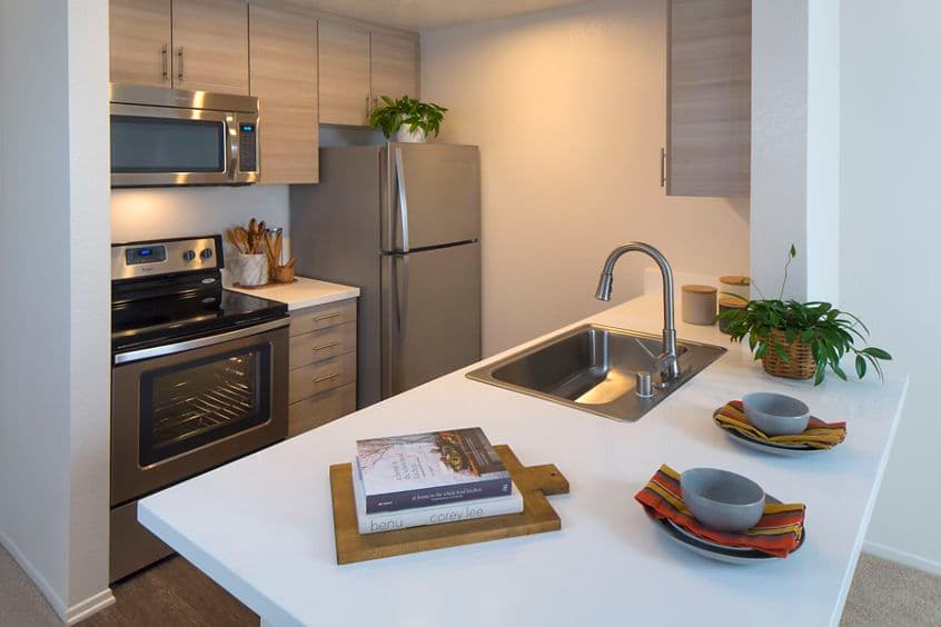 Interior view of kitchen at Harborview Apartment Homes in San Diego, CA.