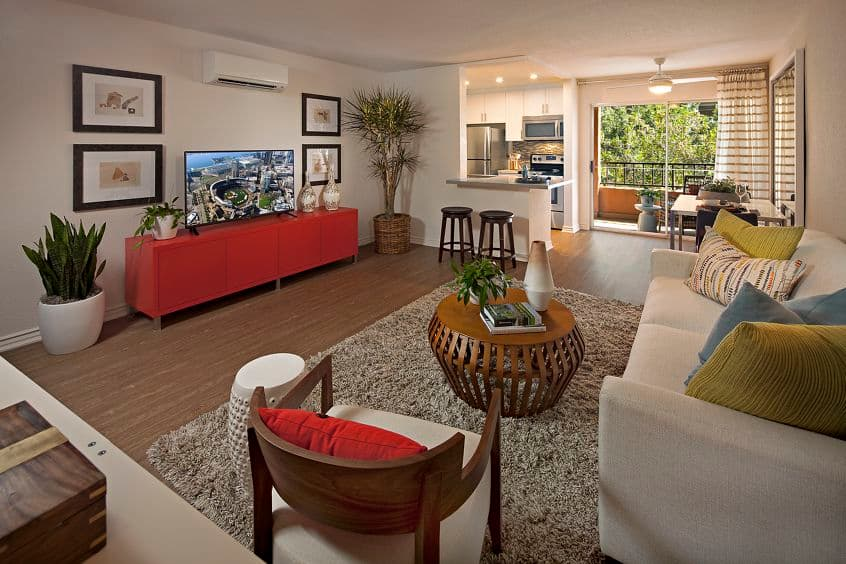 Interior view of living room at Harborview Apartment Homes in San Diego, CA.