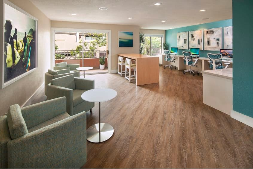 Interior view of business center iLounge at Harborview Apartment Homes in San Diego, CA.