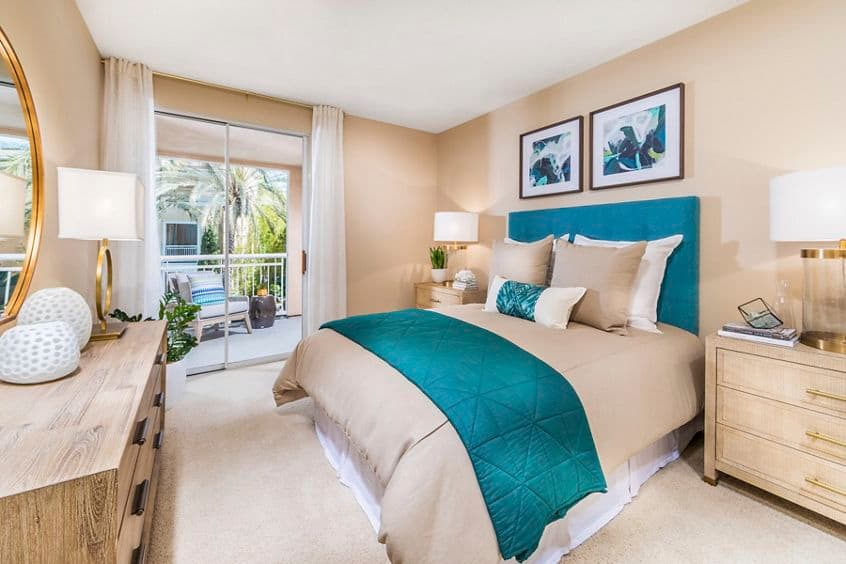 Interior view of bedroom at La Jolla Palms Apartment Homes in San Diego, CA.