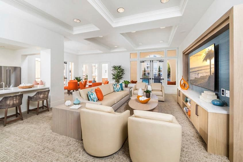 Interior view of Club Room at La Jolla Palms Apartment Homes in San Diego, CA.