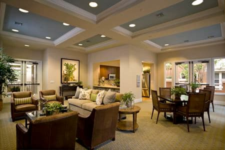 Interior view of club house at La Jolla Palms Apartment Homes in San Diego, CA.