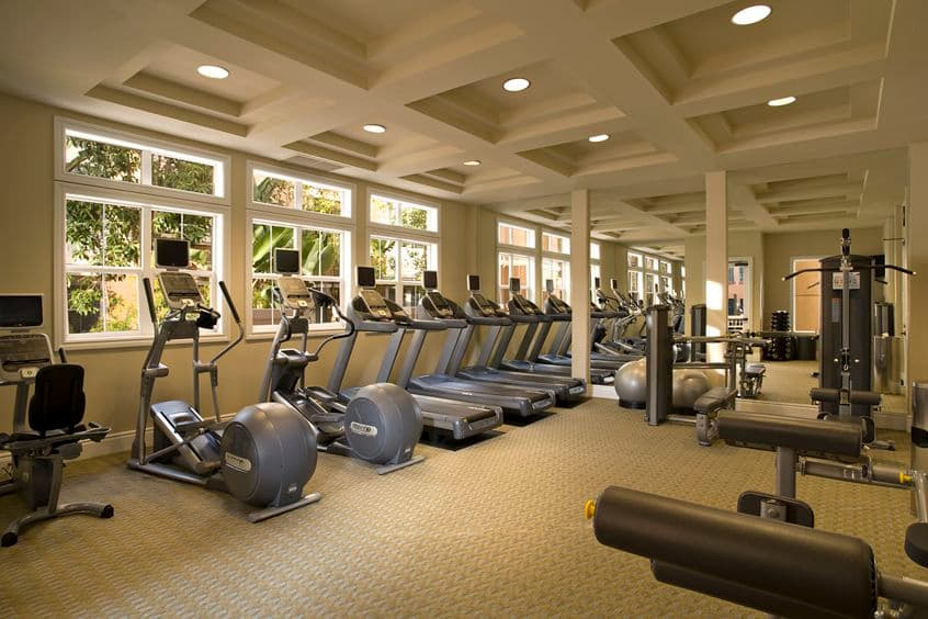 Interior view of fitness center at La Jolla Palms Apartment Homes in San Diego, CA.