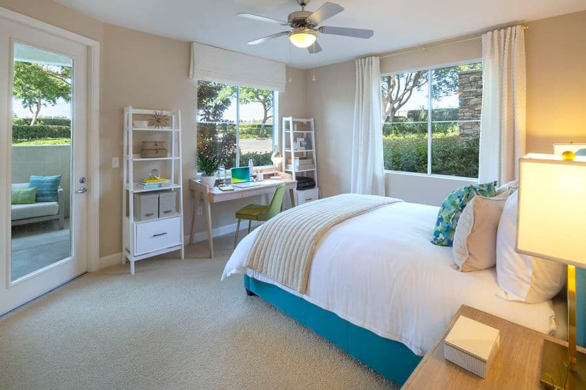 Interior view of bedroom at Marbella Apartment Homes in San Diego, CA.