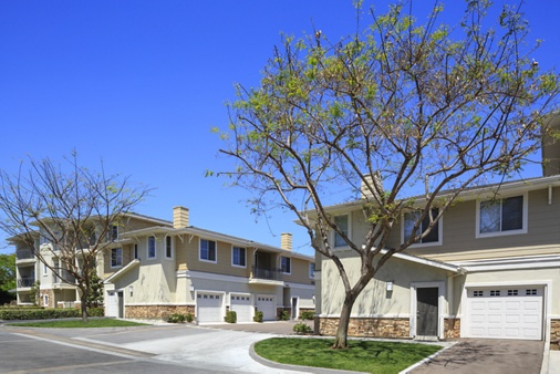 Exterior view of Marbella Apartment Homes in San Diego, CA.