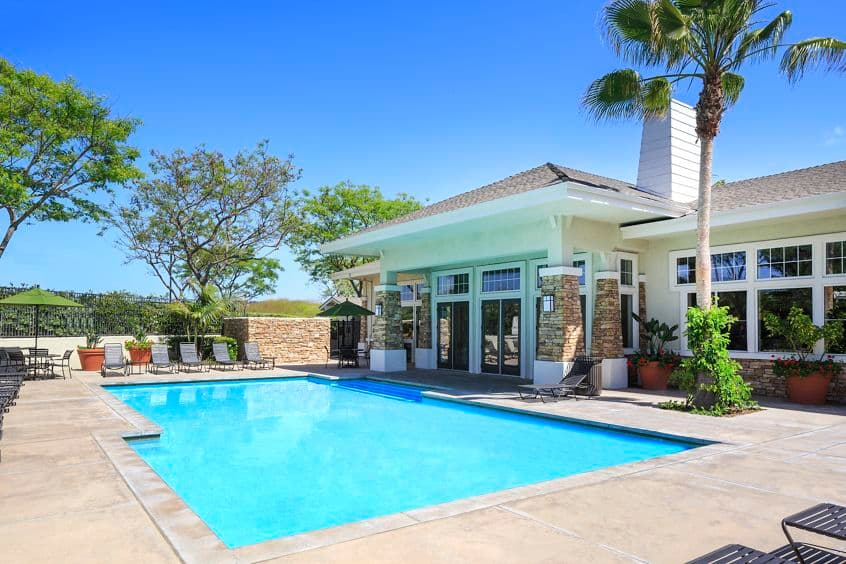 Exterior view of pool at Marbella Apartment Homes in San Diego, CA.