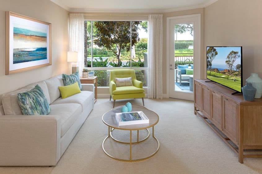 Interior view of living room at Marbella Apartment Homes in San Diego, CA.