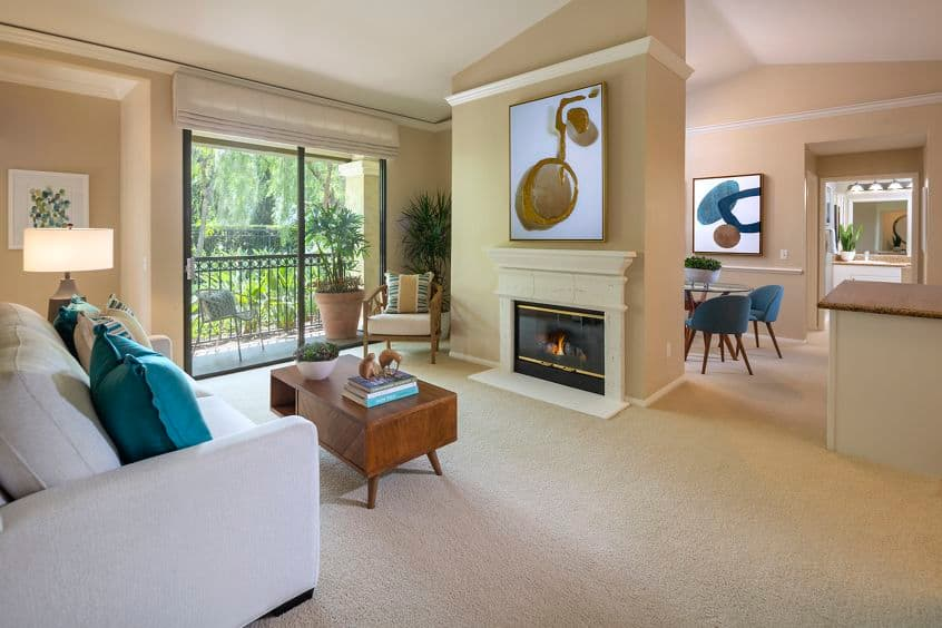 Interior view of living and dining at Monte Vista Apartment Homes in Mission Valley, CA.
