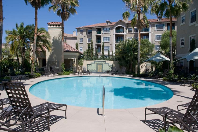 Exterior view of pool at Monte Vista Apartment Homes in Mission Valley, CA.