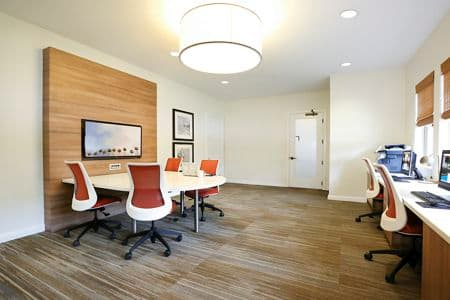 Interior view of business center at Pacific View Apartment Homes in Carlsbad, CA.