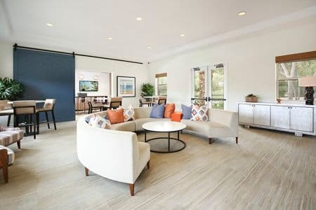Interior view of Clubhouse at Pacific View Apartment Homes in Carlsbad, CA.