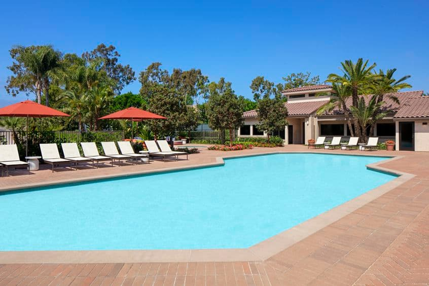 Pool view at Seascape Apartment Homes in Carlsbad, CA.