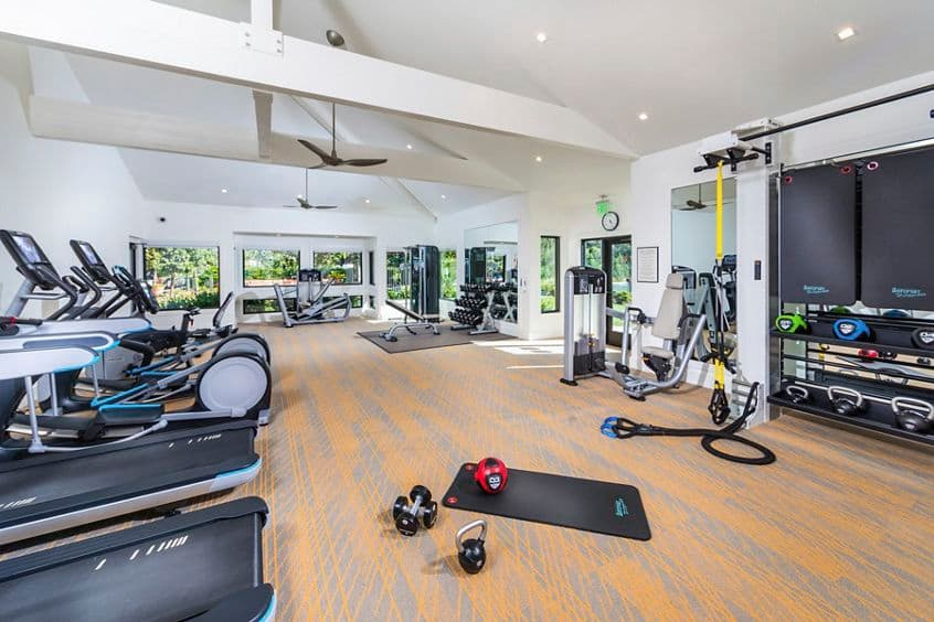 Interior view of Fitness Center at Seascape Apartment Homes in Carlsbad, CA.