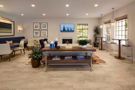 Interior view of clubhouse at Solazzo Apartment Homes in La Jolla, CA.