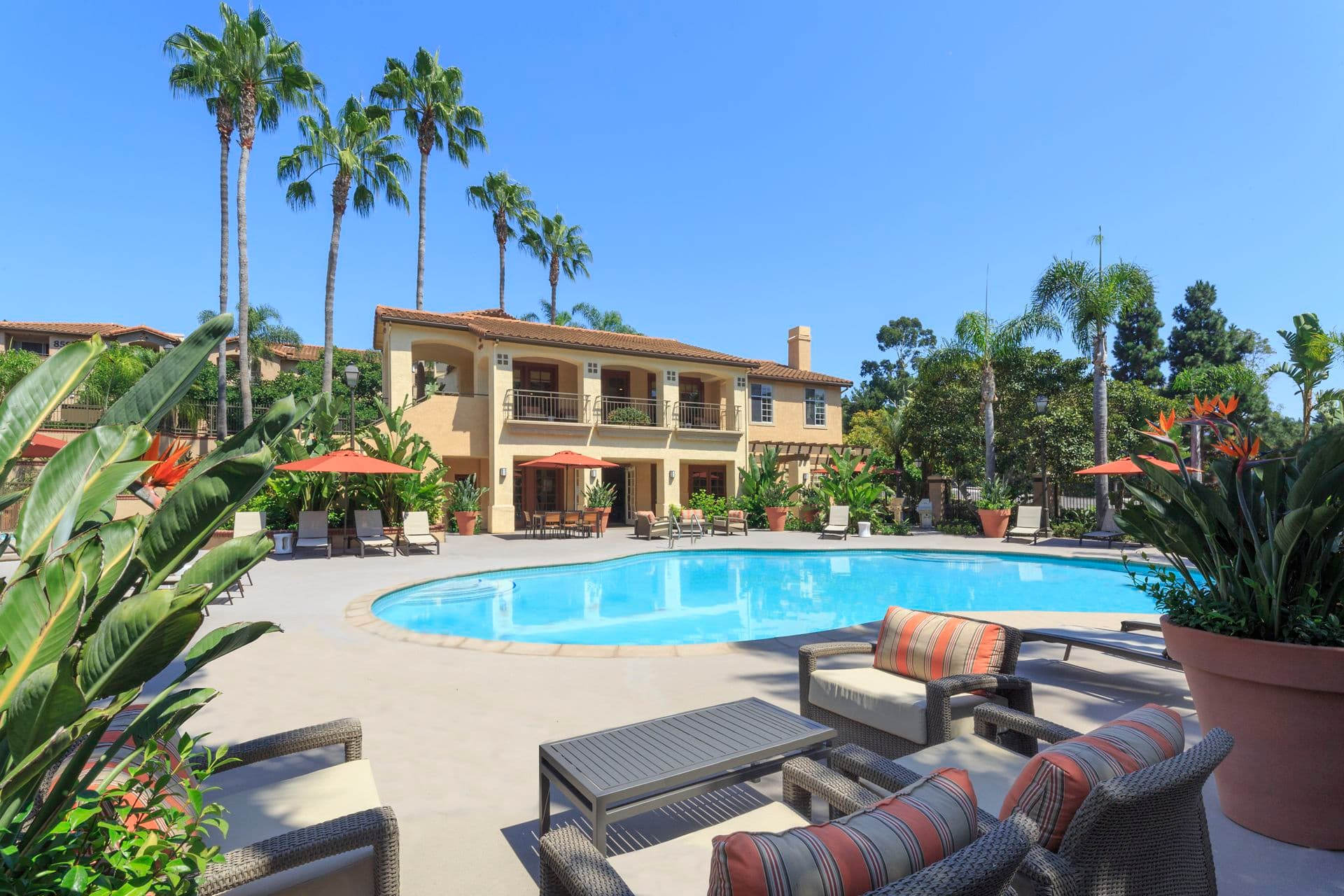 Exterior view of pool at Solazzo Apartment Homes in La Jolla, CA.